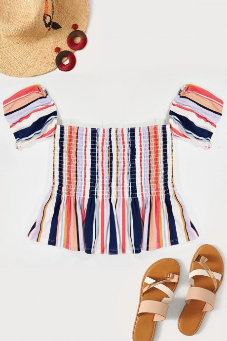 Blusa stripe smocked - morado