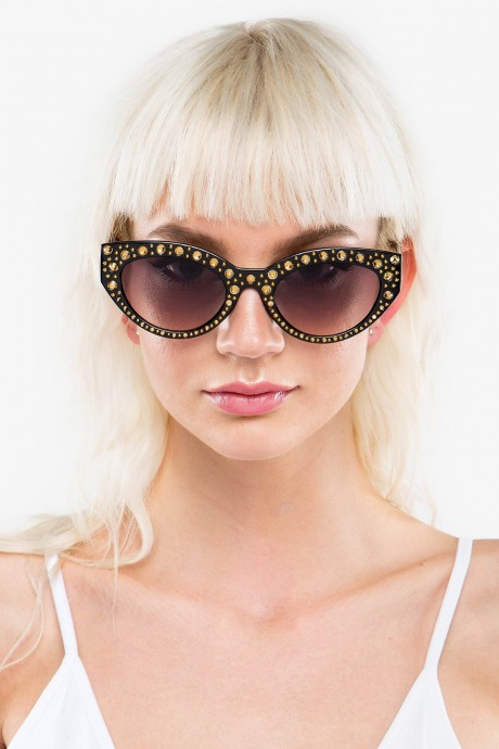 Gafas rhinestone cat eye - marron
