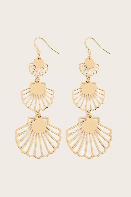Aretes seashell drop - dorado