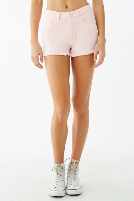 Shorts frayed button - rosado
