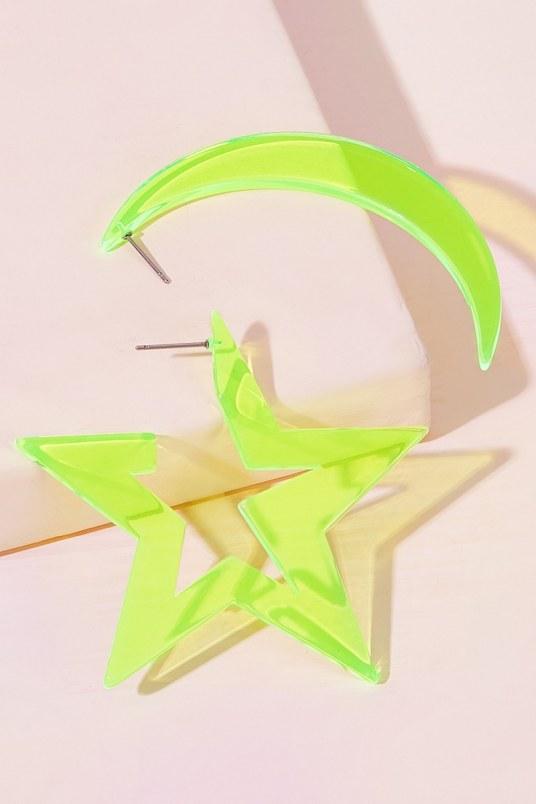 Aretes star moon neon - verde
