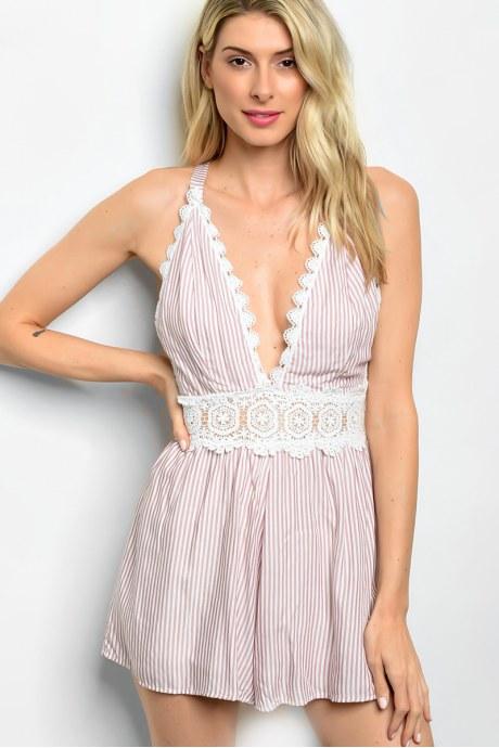 Enterizo striped lace - rosado