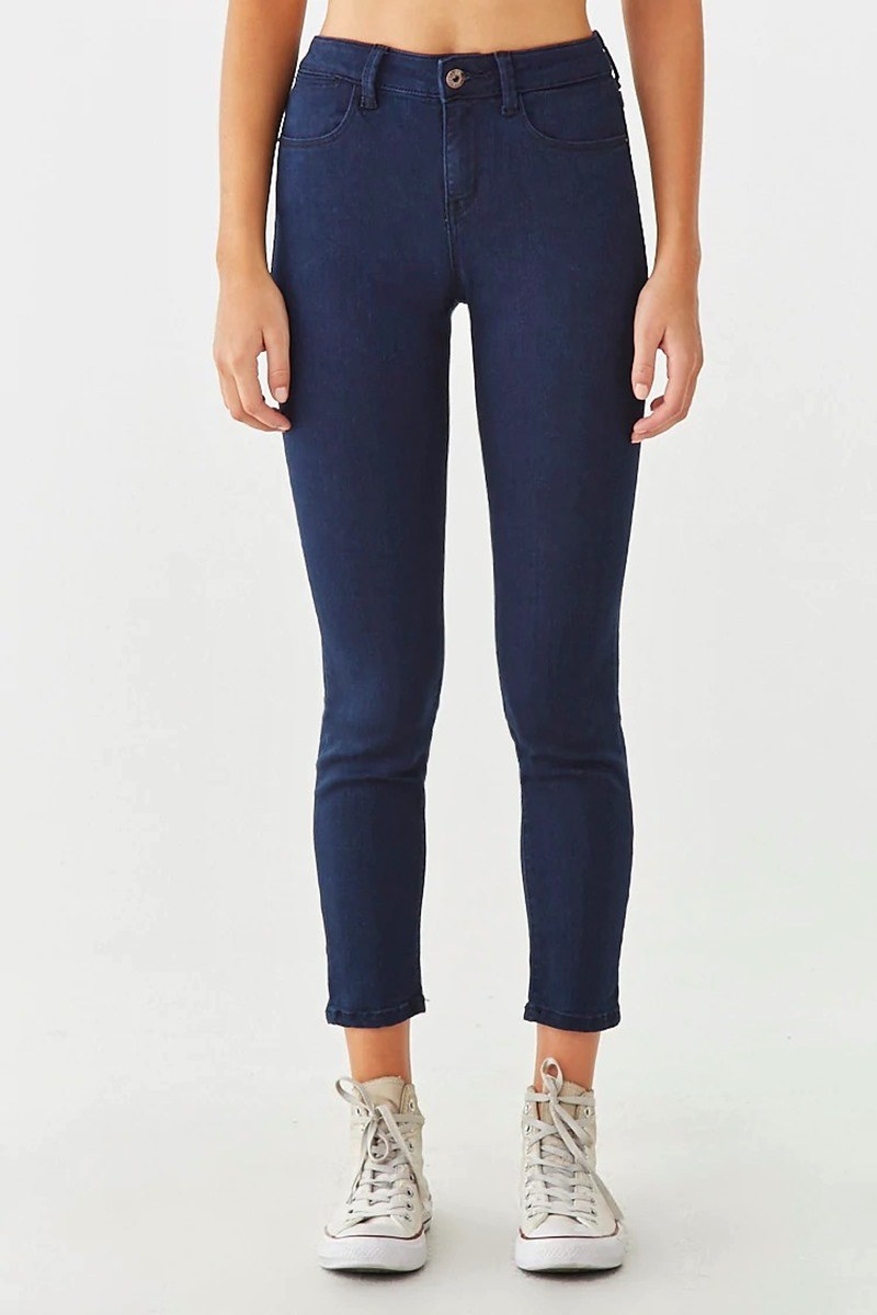 Jeans mid rise zip fly - azul