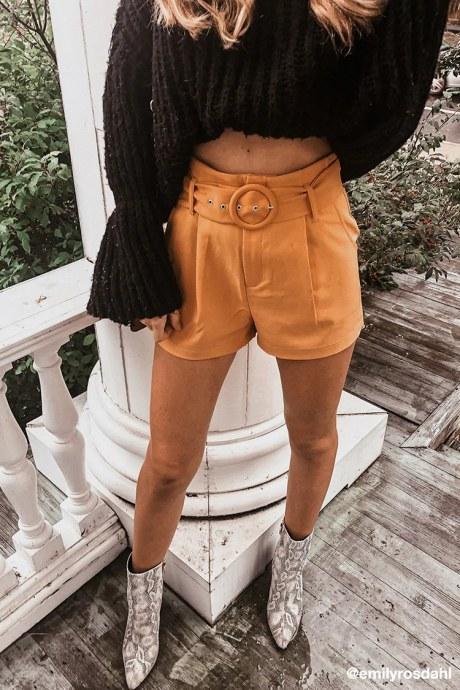 Shorts belted paperbag - mostaza