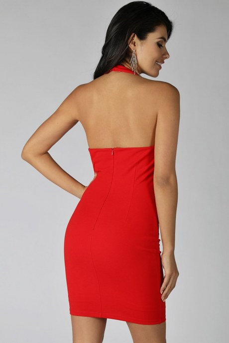 Vestido halter o-ring - rojo