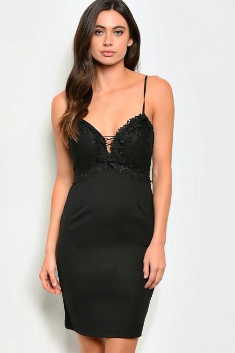 Vestido lace panel - negro