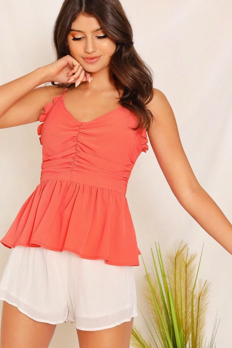 Blusa ruffle trim - anaranjado