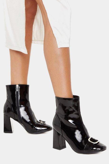 Botas buckle patent - negro