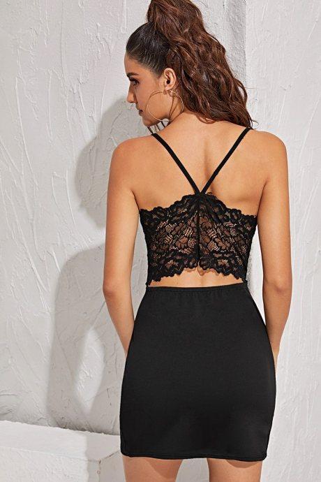 Vestido contrast lace - negro