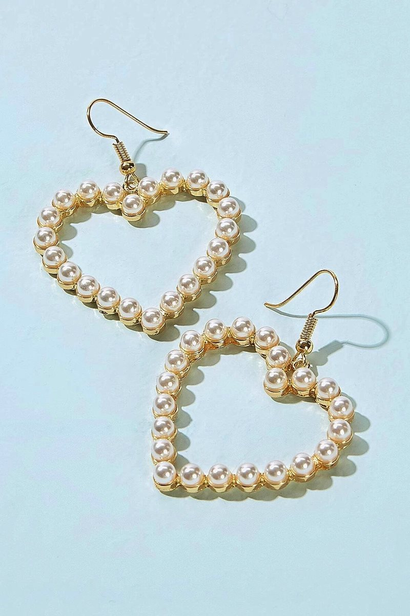 Aretes pearl heart