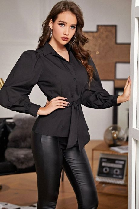 Blusa puff sleeve belted