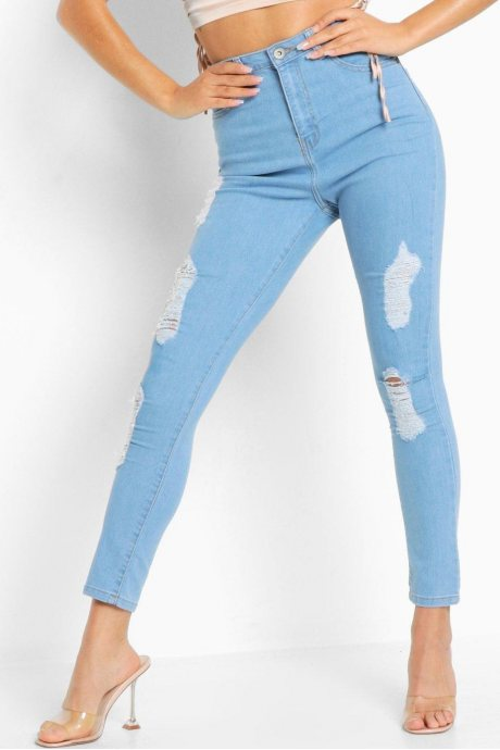 Jeans high rise distressed
