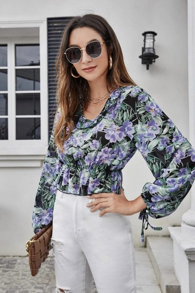Blusa floral knotted