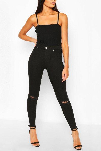 Jeans high waist frayed