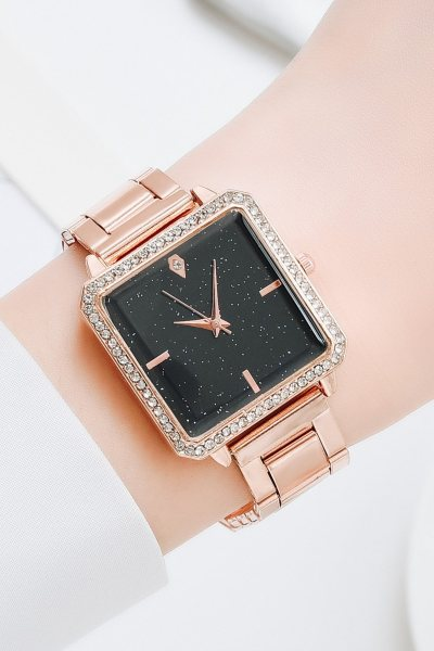 Set reloj + pulsera square rhinestone