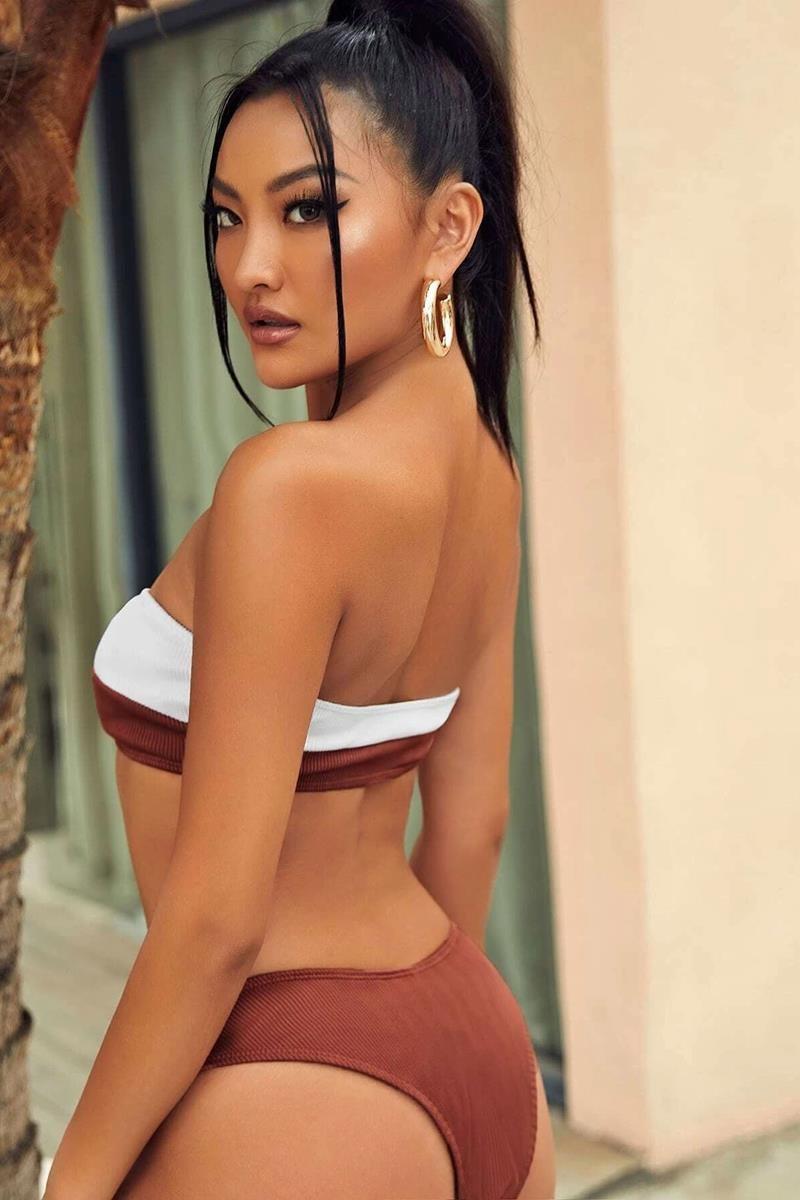 Bikini color block rib