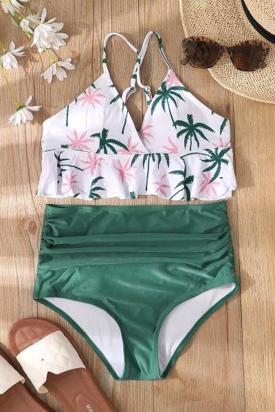 Bikini palm tree ruffle