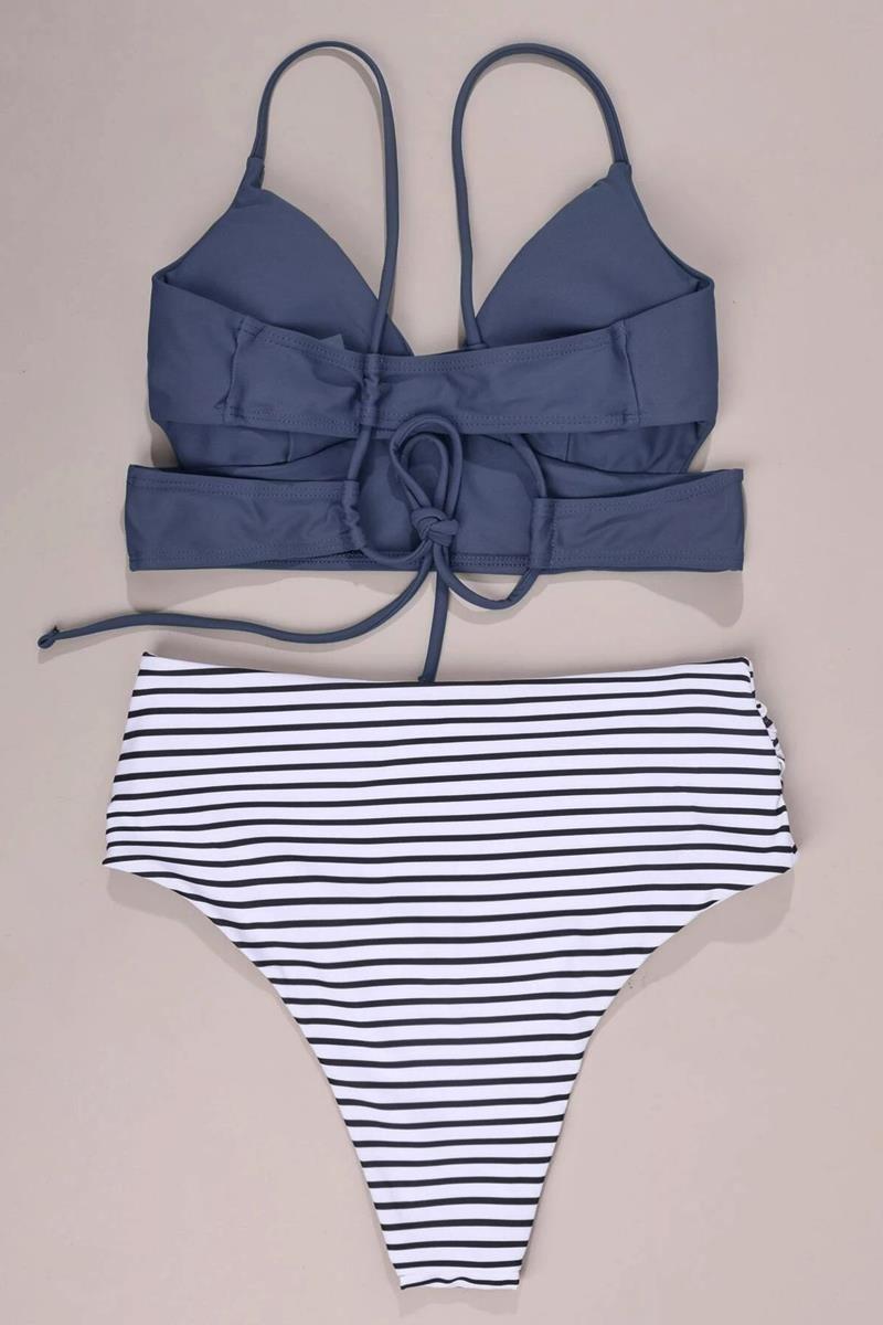 Bikini striped tie back