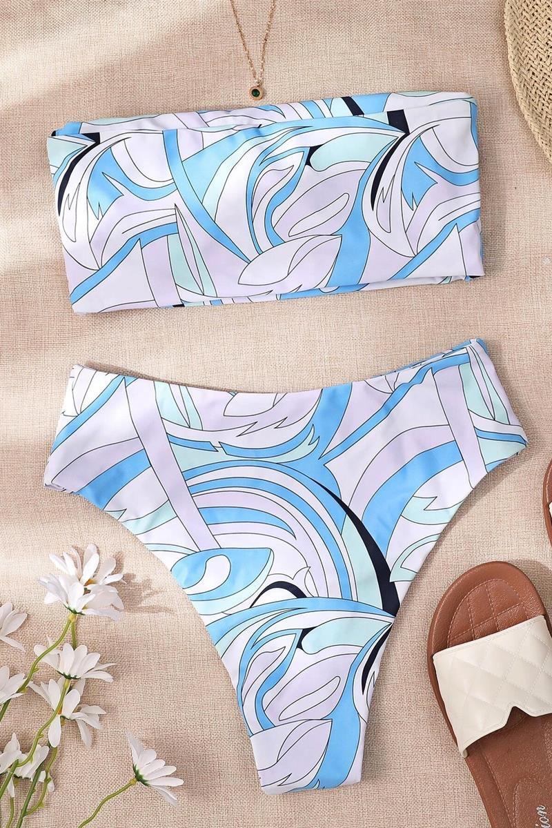 Bikini ruffle trim high waist