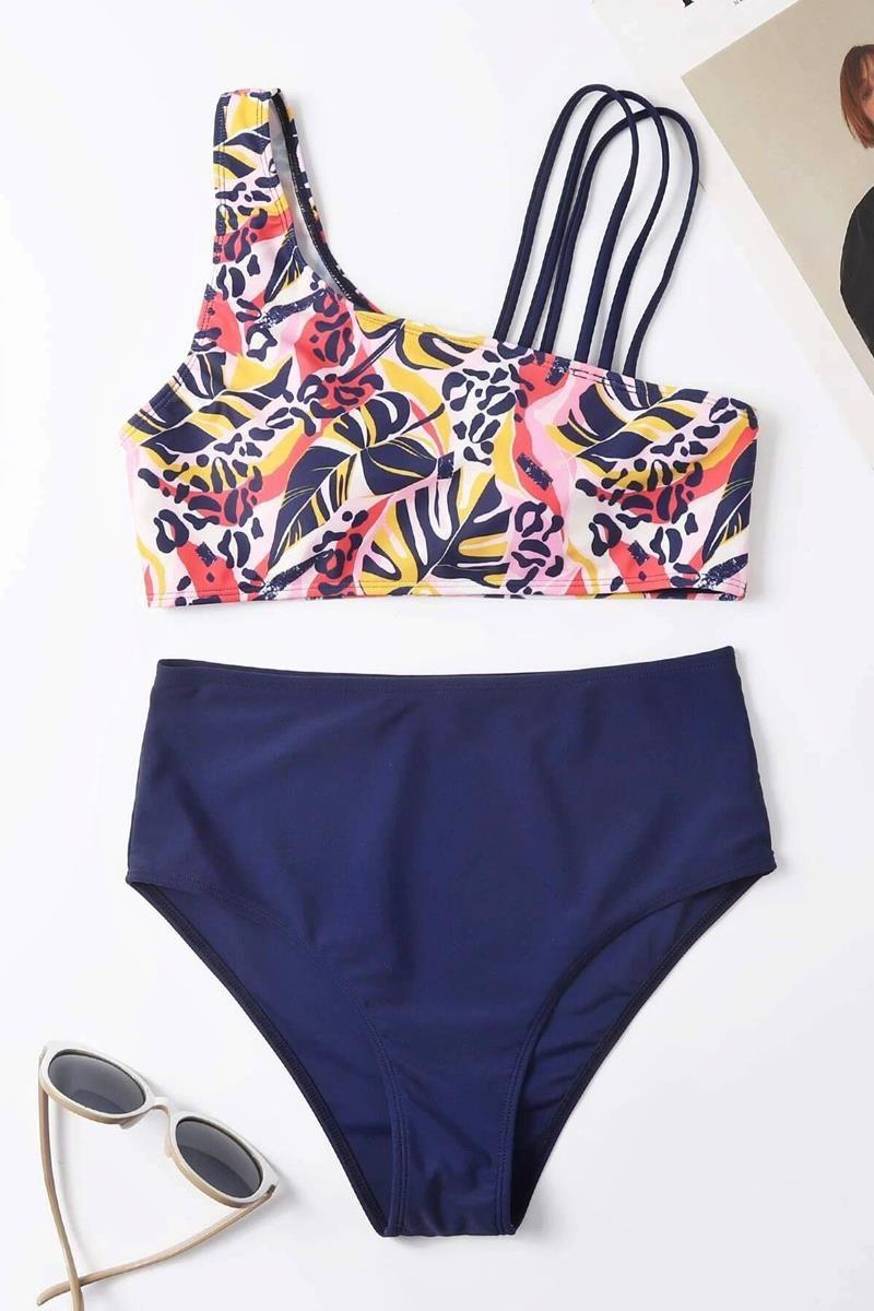 Bikini tropical one shoulder
